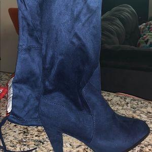 Brand new navy blue thigh high boot